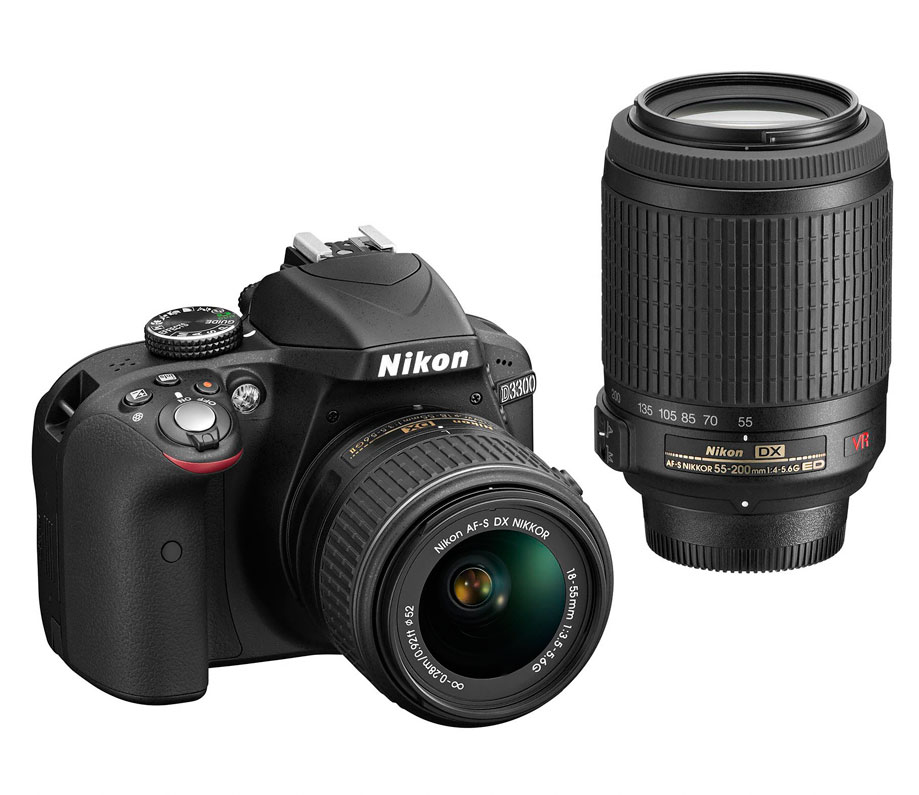 Kit Nikon D3300 + AFP DX 18-55mm No VR+AFS 55-200GVR kit  (Mochila+Tripode+E-Book)