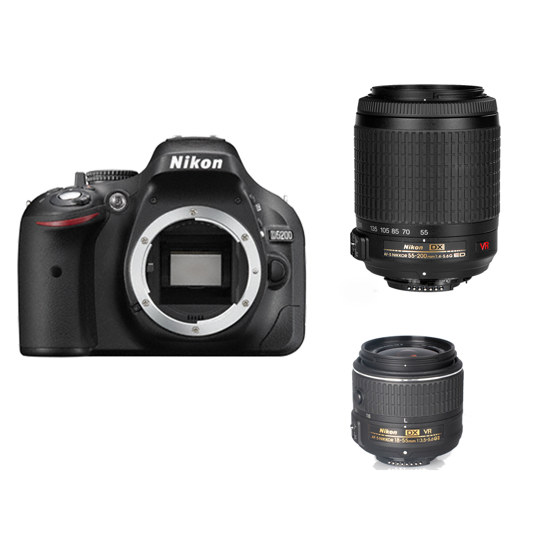 Nikon D5200  + 18-55 VR II Kit 55 - 200 mm VR DX (Outlet)