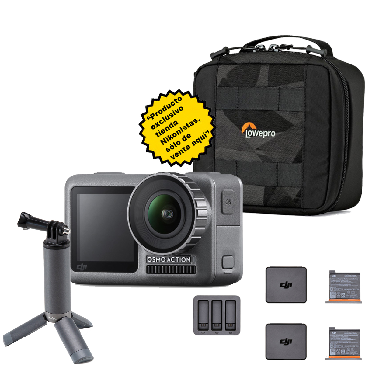 Mega-Kit Osmo Action + Sistema de carga inteligente DJI + Mini tripode + Funda Lowepro CS60